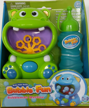 Hippo Bubble Machine With Bubble Solution