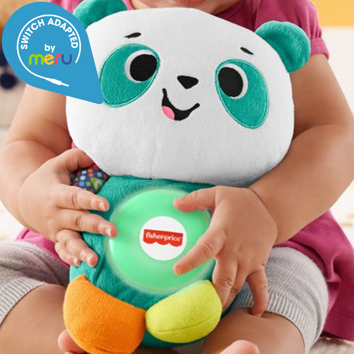 child holding a Switch adapted Fisher-Price Linkimals Play Together Panda